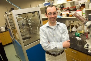<p>Nicholas Leadbeater, assistant professor of chemistry, in his lab. Photo by Daniel  Buttrey</p>