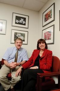 <p>Neag School of Education professors Joseph Renzulli and Sally Reis. Photo by Peter Morenus</p>