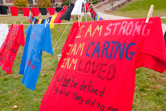the clothesline project The clothesline project is a public display bearing witness to all forms of interpersonal violence and sexual assault rutgers university began their own clo.