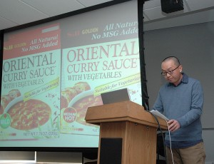 <p>Professor Robert Ji-song Ku spoke at the Asian-American Cultural Center on February 15, 2010 regarding the meaning of umami and how the use of MSG may be linked to it.  The talk was the second in a three part series hosted by the center regarding food and culture.  The next lecture is March 4 at the AsACC. Photo by Margaret Malmborg</p>