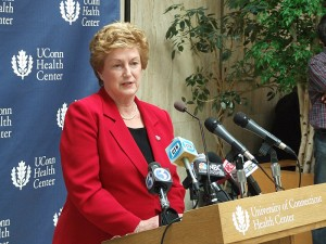 <p>Gov. M. Jodi Rell announces her plan for a new Hospital Tower and Health Center renovations. Photo by Chris DeFrancesco</p>