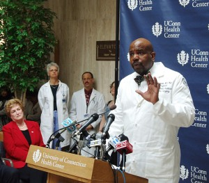 <p>Dr. Cato T. Laurencin, vice president for health affairs and dean of the UConn School of Medicine, speaks about the plan. Photo by Chris DeFrancesco</p>