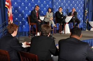 <p>Democratic candidates Juan Figueroa, Mary Glassman, Dan Malloy and Rudy Marconi. The gubernatorial debates were held at the William H. Starr Reading Room at the Law School.</p>