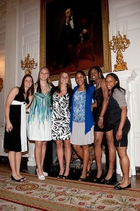 <p>Women's Basketball team at the White House. Photo by Stephen Slade</p>