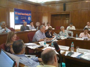 <p>President John Casteen of the University of Virginia presiding over the Annual General Meeting of Universitas 21, Delhi, India, May 2010. Photo by Jeremy Teitelbaum</p>