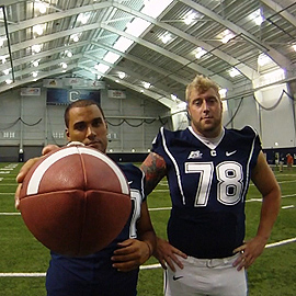 <p>UConn football players Moe Petrus, and Zach Hurd can't wait for the season to begin. Photo by Bret Eckhardt</p>