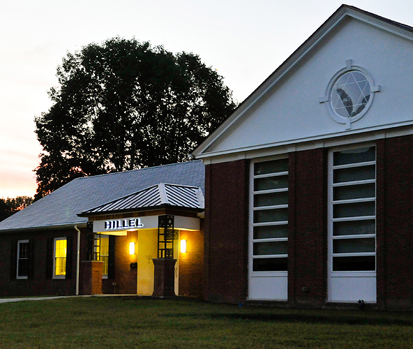 <p>A view of the newly renovated Hillel Hall at dusk. Photo by Jessica Tommaselli</p>