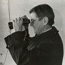 <p>Joe Soltys in his familiar perch at Memorial Stadium. Photo provided by Division of Athletics</p>