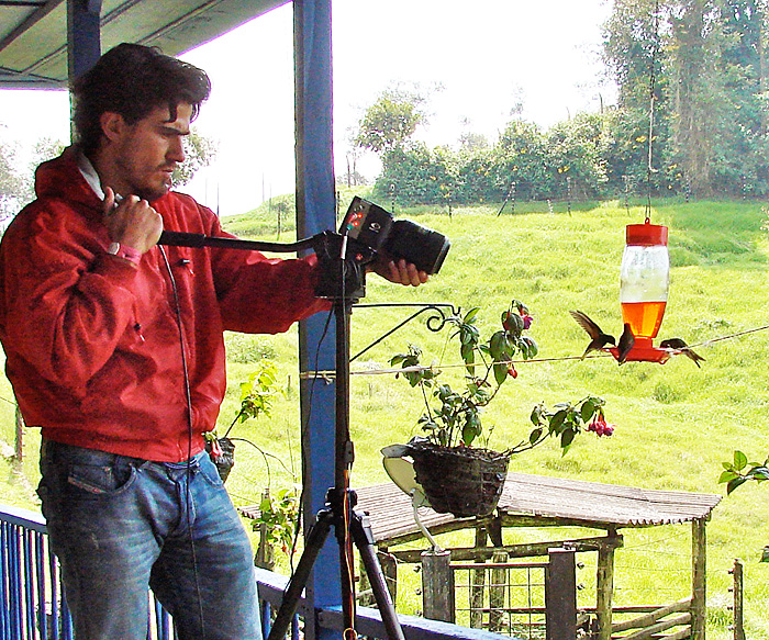 <p>Alejandro Rico Guevara films hummingbirds visiting a feeder during his research in the Andes Mountains in Columbia. Photo courtesy of Alejandro Rico Guevara</p>