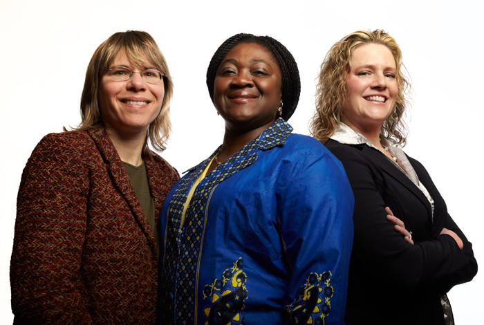 <p>Among the first group of graduates from the Doctor of Nursing Practice Program are from left: Millicent Malcolm '99 M.S., '10 D.N.P., Victoria Odesina '09 D.N.P and Karen Myrick '89 (NUR), '99 M.S., '10 D.N.P. Photo by Lanny Nagler.</p>