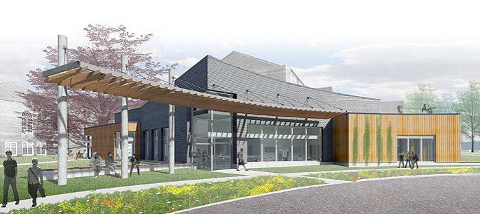The concept for the proposed 5,000 square foot addition at the Avery Point campus, showing a view from the campus entrance.