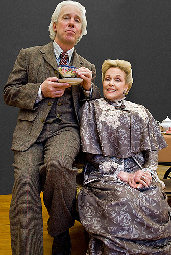 Broadway legend Terrence Mann as Professor Henry Higgins sips tea with soap opera star Eileen Fulton, as Mrs. Higgins, in Connecticut Repertory Theatre's Nutmeg Summer Series production of My Fair Lady playing July 7-17 in the Harriet S. Jorgensen Theater, Storrs. For tickets and information call 860-486-4226 or visit www3.crt.uconn.edu.