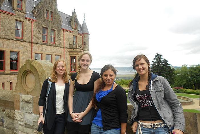 From left, UConn students Grace Vasington, Savannah Williams, Rachael Nave, and Dovile Vilkauskaite at Belfast Castle.