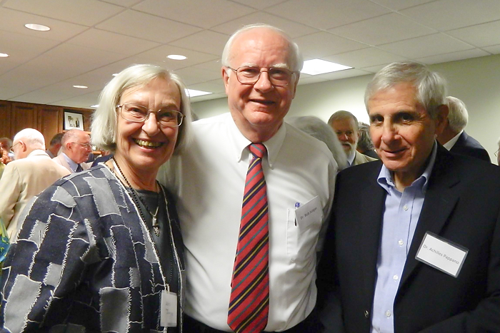 Left to Right - Lois Jungas, Dr, Bob Jungas, Dr. Achilles Pappano attend the first faculty reunion. (Jennifer Huber/UConn Foundation Photo)