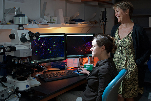 Brain signaling, Parkinson's Disease, and the sense of smell are all related in unexpected ways in a study by associate professor Joanne Conover, right, and graduate student Jessica Lennington.