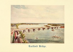 A picture of Hartford Bridge, from a pamphlet titled 'Crossing the Connecticut,' published in 1908.