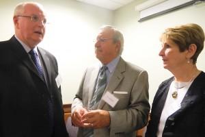 Dr. Monty MacNeil, Dr. Ed Kollar, Catherine Kollar at the First Faculty Reunion on September 12, 2011. (Jennifer Huber/UConn Foundation Photo)