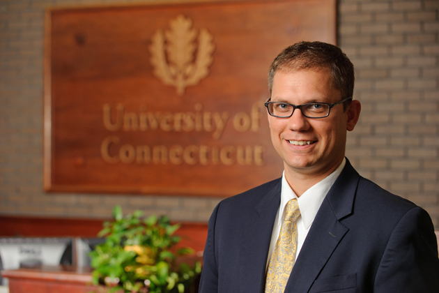 Nathan Fuerst, director of undergraduate admissions, at his office on Oct. 3, 2011. (Peter Morenus/UConn Photo)