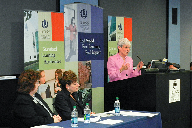 Lt. Gov. Nancy Wyman speaks during a press conference announcing the new Stamford Learning Accelerator, whil Karla Fox, left, interim dean of the School of Business, and Univeristy President Susan Herbst look on. (Michael Kirk/UConn Photo)