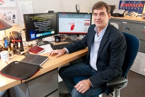 Psychology professor Blair Johnson, a principal investigator with CHIP, is using GIS to analyze factors affecting the efficacy of HIV prevention interventions. (Max Sinton for UConn)