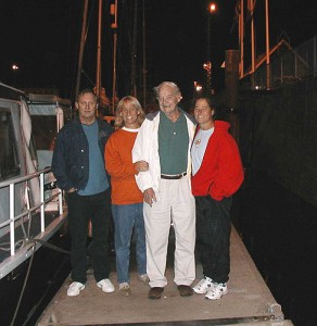 It's 3 a.m. and Fry and her family are getting ready for her 2003 solo Channel crossing. With Fry, far right, are her cousin Jeff, sister Peggy, and her dad. (Photo courtesy of Elizabeth Fry)