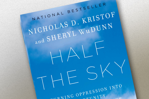 A photo of the first book to be selected for the UConn Reads Program named Half the Sky by Nicholas D. Kristof and Sheryl WuDunn.