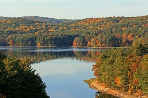 Photo of a beautiful state park during the fall foliage.