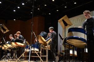 The Steel Pan Ensemble performs at von der Mehden Recital Hall. (Ariel Dowski '14 (CLAS)/UConn Photo)