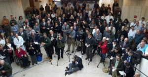 Reporters and photographers fill the academic lobby for Governor Malloy's announcement that the Jackson Laboratory deal with the state has been finalized on January 5, 2012. (Chris DeFrancesco/UConn Health Center Photo)