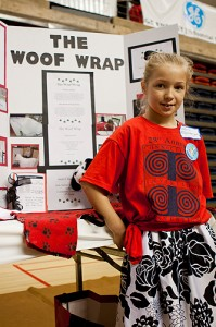 Young exhibitor at the Connecticut Invention Convention held last spring. More than 650 young inventors in grades K-8 participated in the event. (Christopher LaRosa/UConn photo)