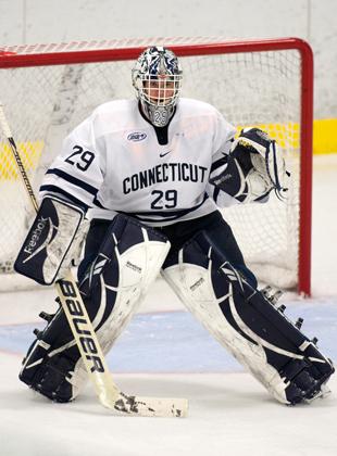 Junior goaltender Garrett Bartus '13 (CLAS). (Steve Slade '89 (SFA) for UConn)