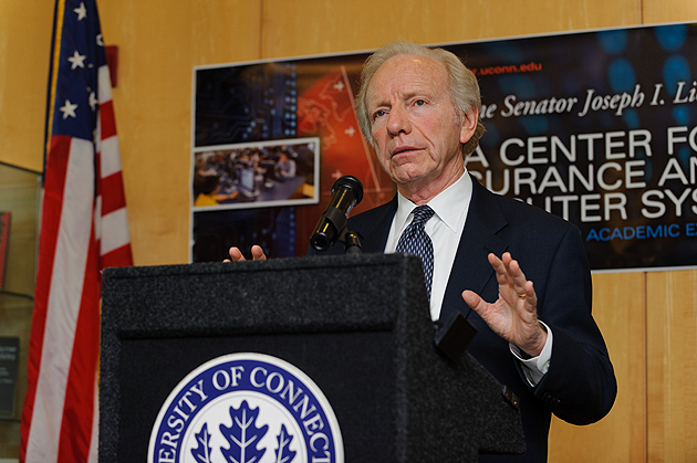 Senator Joseph Lieberman visits the Information Technology Engineering Building to speak about the Cybersecurity Act of 2012 on Feb. 23, 2012. (Peter Morenus/UConn Photo)