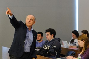 Professor Wisensale emphasizes a point to his class. (Peter Morenus/UConn Photo)