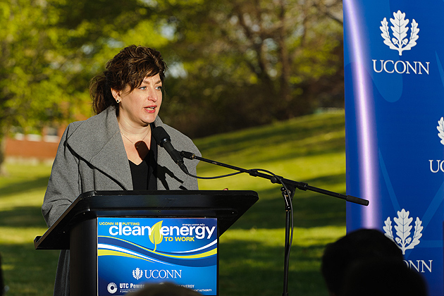 President Susan Herbst speaks at a ceremony to mark the commissioning of the natural gas fuel cell. (Peter Morenus/UConn Photo)