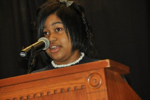 Natalia Warburton, a 7th grader from Wish Elementary, last year's recipient of the Maggie Bookman Award for outstanding reader, talks about the importance of reading and her goal to be a teacher. (Shawn Kornegay/UConn Photo)
