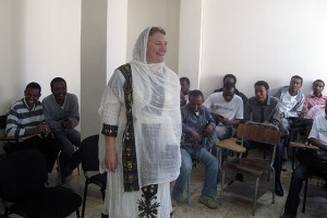 Carol Atkinson-Palombo wears a traditional Ethiopian dress given to her by her students at the new Ethiopian Institute for Water Resources. (Photo courtesy of Carol Atkinson-Palombo)
