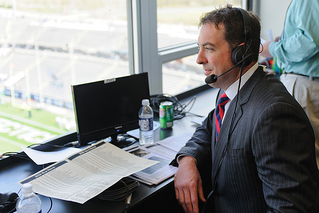 Sean Mulcahy announces the SNY broadcast of the UConn football Blue & White game from Rentschler Field on April 21, 2012. (Peter Morenus/UConn Photo)