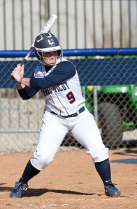 Utility fielder Amy Vaughan '12 (CLAS) is one of the team's leading hitters, with a .306 batting average, 13 home runs, 42 runs batted in, and a slugging percentage of .653. (Steve Slade '89 (SFA) for UConn)