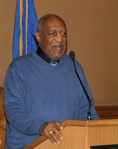 Comedian Bill Cosby, a long time friend of Dr. Laurencin, attended the reception held at the State Capitol. (Sarah Turker/UConn Health Center Photo)