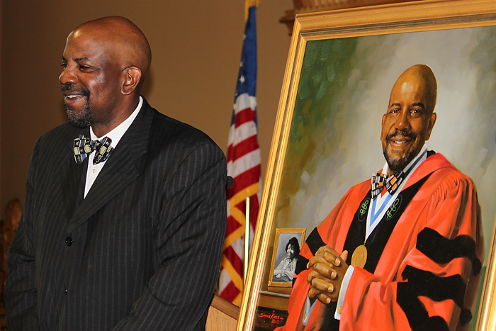 Dr. Cato T. Laurencin's official portrait was unveiled during a reception held at the State Capitol on May 9. (Sarah Turker/UConn Health Center Photo)