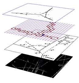 """This diagram, provided by Brookhaven National Laboratory, illustrates the wide range of distance scales that must be understood before the kaon decay calculation can be performed. The lowest level is a picture showing the tracks of decay particles. The layer above that provides a """"key,"""" showing how the kaon (K) """"breaks apart"""" into two pions. The next layer represents the numerical calculation, and the top layer shows the decay mathematically in what is known as a Feynman diagram."""