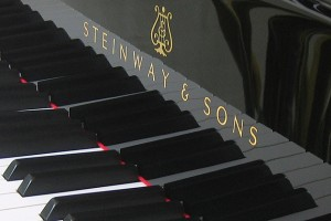 Keyboard of a grand piano manufactured by the Hamburg (Germany) factory of Steinway & Sons. (Wikipedia)