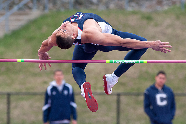 Jake Waruch '12 (CLAS) of the men's track and field team will compete in the two-day decathlon event during the NCAA Championship Finals in Des Moines, Iowa, starting June 7. (Steve Slade '89 (SFA) for UConn)