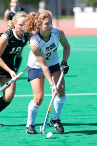Anne Jeute '€™13 (CLAS) of Meerbusch, Germany is a forward on the women's field hockey team.