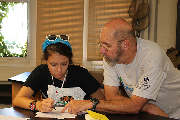 Professor of natural resources and the environment Jack Clausen worked with Ana De Sousa as they reviewed the results of her field research. (Susan Schadt/UConn Photo)