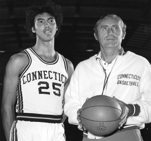 """UConn Men's Basketball Coach Donald """"Dee"""" Rowe poses with Husky basketball star Tony Hanson, one of the program's first great four-year players."""