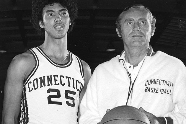 """UConn Men's Basketball Coach Donald """"Dee"""" Rowe with Husky basketball star Tony Hanson, one of the program's first great four-year players."""