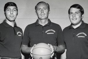 """Head men's basketball coach Donald """"Dee"""" Rowe, center, with assistant coaches, Jim Valvano, left, and Bill Gaertner in a Nov. 1, 1971 photo."""