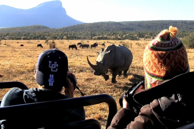 UConn students on a game drive during a field ecology class in Entabeni Game Reserve, South Africa.