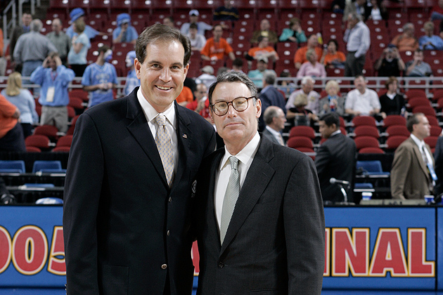 Mike Aresco '76 J.D., new commissioner of the Big East Conference, right, with CBS sportscaster Jim Nantz at the 2005 men's NCAA Final Four in St. Louis. (Rusty Kennedy/CBS)